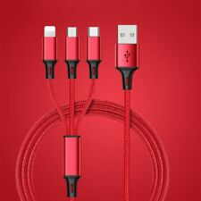 Multi 3 in 1 Fast Charging Cable Cord Micro USB/8 Pin Port/Type C Lightning Red