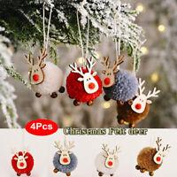 4X Cute Felt Wooden Elk Christmas Tree Decoration Hanging Pendant Deer Ornament