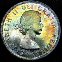 """1958 CANADA """"BRITISH COLUMBIA"""" SILVER DOLLAR HIGH QUALITY COLOR TONED COIN #1"""