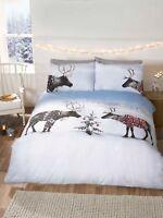 Rapport Reindeer Jumpers Winter Christmas Snow Duvet Cover Bedding Set Multi