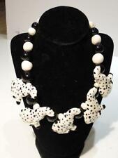 Unique Ceramic Dalmatian Dog Beaded Choker Necklace
