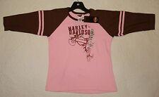NEW Yth Large (14-16) Girls Harley Davidson Shout Pink Brown 3/4 Sleeve Raglan