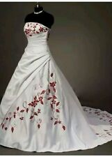 cNew White and Red Embroidery Wedding Dress Ball BridalGown Size 6-18 UK