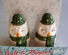 CHRISTMAS Salt and Pepper Set  WINKY OWL by Boston Warehouse