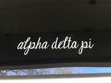 ALPHA DELTA PI Script Cursive Sorority Sticker Window Laptop Car Decal SS101