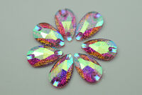 100PCS 11mm x 18mm TearDrop Purple AB Resin Rhinestones Flatback beads Sew on