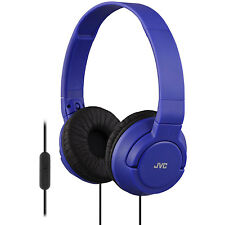 JVC Lightweight Foldable Headphones with In-Line Control & Microphone in Blue