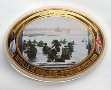 OPERATION OVERLORD D-DAY 1944 - 70mm Oval Gold Plate Proof Coin - in Capsule.