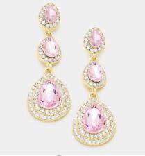 """2.25"""" Long  Light Pink Drop Crystal Rhinestone Pageant Formal Pierced Earrings"""