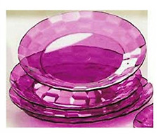 "Tupperware Ice Prisms 8"" Round Acrylic Plates Set Purple Gem Stone Rare New"