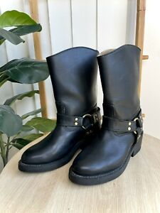 Thomas Cook Jenny Reb Black Leather Long Motorcycle Boots Size 6.5EW