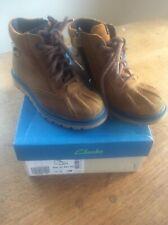 Clark's GORETEX Boys Tan Leather Boots Dan Hi Gtx Inf Size UK 10 G Fit EU 28