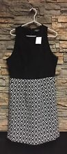 Lucky Brand Dress Polyester Size 10 NWT $129 Career/Formal Blk Wht Shirt