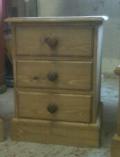 3 Drawer Waxed Bedside Cabinet
