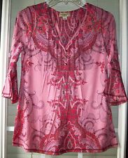 One World Petites Half-Sleeve Pinks Paisley Sublimation Polyester Print Top-PS