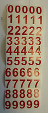 "RED STICKY VINYL NUMBERS 25mm (1"") HIGH x 50 waterproof"