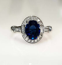 2 Ct Oval Cut Blue Sapphire Diamond Halo Women Engagement Ring 14K White Gold FN