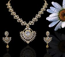 Indian CZ AD Bollywood Ethnic Party Necklace Set Swam Jewelry 726