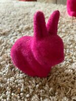 Flocked Grass Astro Turf Button Nose Easter Bunny Figurine Rabbit Bright Pink