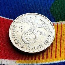 1937 J 5 Mark German WW2 Silver Coin Third Reich Swastika Reichsmark
