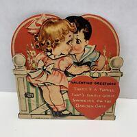 Vintage Valentine's Day Card 1940s girl boy folding fence garden gate