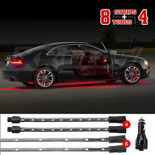 NEW 12pcs RED Undercar+Interior LED Neon Glow Accent Light  3 Mode Auto Recall
