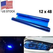 "Glossy Dark Blue Tint Headlight Fog Light Truck Taillight Vinyl Film 12"" x 48"""