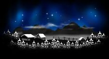 NEW! SNOW CABIN SCENE Airbrushed Black T-shirt design, Any size up to 6X