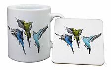 Budgerigars, Budgies in Flight Mug+Coaster Christmas/Birthday Gift Idea, AB-94MC
