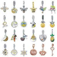 DIY Women Fashion Sterling Silver 925 Yellow Charms European Beads Fit Bracelet