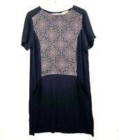 KACHEL Women's Size 10 Short Sleeve Knee Length Silk Casual Pockets Shift Dress