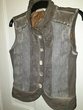 "Ladies Grey Vintage Boho Style Waistcoat/Gilet ""ALISA CAVALETTI"" SzM"