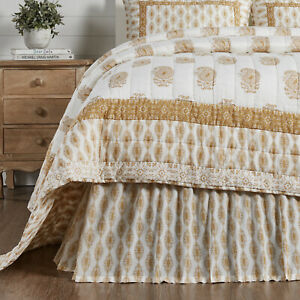VHC Avani Gold White Paisley Country Farmhouse Chic Gathered Bed Skirt