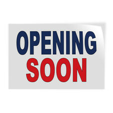 Decal Stickers Opening Soon Blue Red Vinyl Store Sign Label Business
