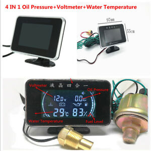 Car LCD Digital 4 IN 1 Water Temperature/Oil Pressure/Fuel/Voltage Gauges Kit