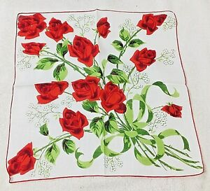 Vintage Hankie Bouquet of Red Roses with Thorns Tied with Green Ribbon 15 Inches