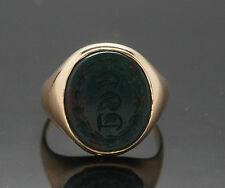 9carat ROSE ORO OVALE Bloodstone SIGNET RING Seal (taglia K) 13X15mm capo