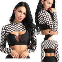 Sexy Womens Mesh Crop Top Plaid See Through Tank Tops Long Sleeves Short T-shirt