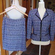 ST. JOHN 2-pc Jacket (Size 8) & Skirt (6); Sapphire Purple Ivory Lavender 1X EC