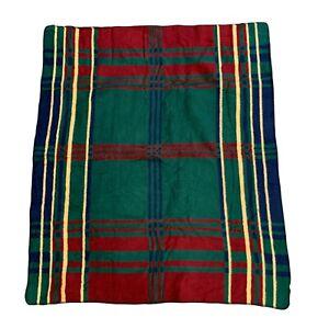 "Vintage Biederlack Aurora Blanket Acrylic Blend 49"" x 57"" Plaid Made USA 90s"