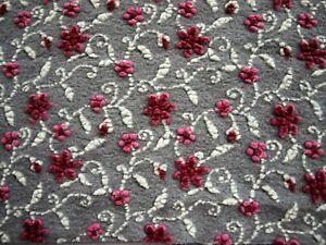 NEU!! Winter  Musterwalk Walkstoff Italien Loden Blumen rosa auf grau