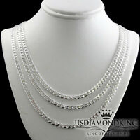 """MEN'S LADIES NEW 925 STERLING SILVER MIAMI CUBAN CURB NECKLACE CHAIN 20""""~28"""" 4MM"""