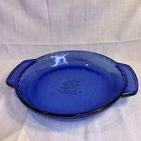 """Anchor Hocking 9"""" Cobalt Blue Glass Deep Dish Fluted Pie Plate Baking 1 Qt"""
