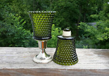 2 Homco Hobnail Avocado Green Peg Votive Cup Candle Holders W/Grommets Olive
