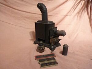 ANTIQUE MAGIC LANTERN PROJECTOR & LENSES & SLIDES & OIL LAMP, GERMAN MADE C-1880