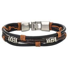 Herren Damen Armband, Tribal Geflochten Armreif, Leder Seil Legierung, Brau T8L8