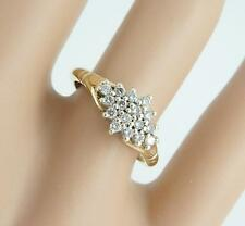 Marquise 9ct Gold .20c Genuine Diamond Ring Size K. Superb Condition. NICE1