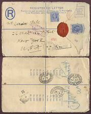 SEYCHELLES TREASURY SEAL 1919 REGISTERED STATIONERY 12c + 15c to USA + UNCLAIMED