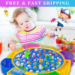 Electric Music Rotating Magnetic Fish Fishing Plate Game Kids Educational Toy LT