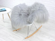 AMAZING ICELANDIC SHEEPSKIN RUG, SINGLE, SILVER / LIGHT GREY colour dyed, 550